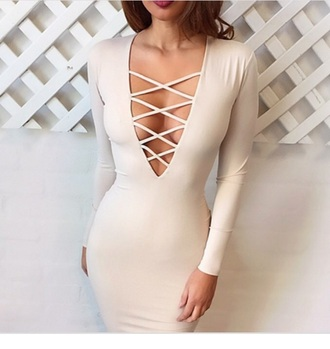 dress lace up dress cream bodycon bodycon dress v neck plunge v neck long sleeves long sleeve dress fall dress fall outfits midi midi dress sexy sexy dress party party dress party outfits classy elegant cocktail dress girly birthday dress elegant dress holiday dress date outfit romantic dress