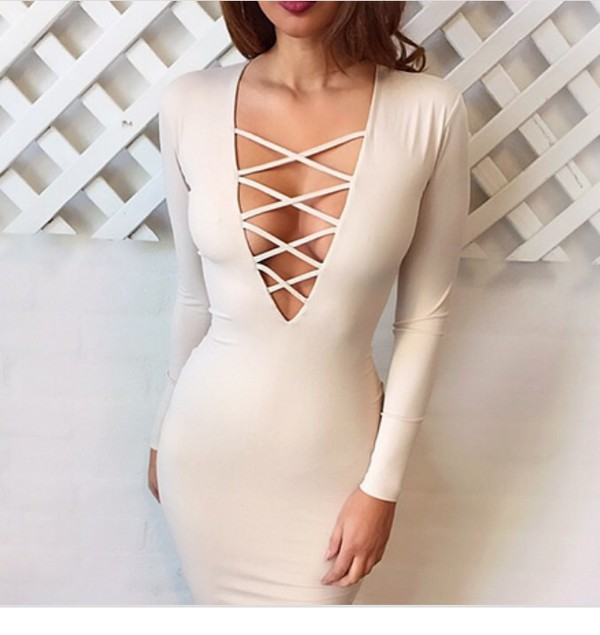 dress lace up dress cream bodycon bodycon dress v neck plunge v neck long sleeves long sleeve dress fall dress fall outfits midi midi dress sexy sexy dress party party dress party outfits classy elegant cocktail dress girly birthday dress elegant dress holiday dress romantic dress