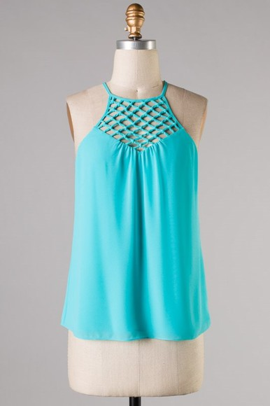 fishnet shirt tank aqua