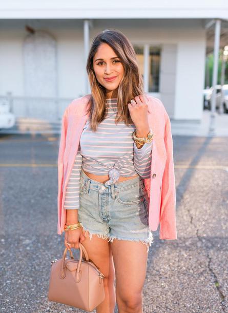hauteofftherack blogger jewels pink jacket blazer denim jacket striped top denim shorts spring outfits shorts top jacket