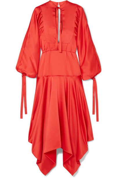 Self-Portrait - Tie-detailed Asymmetric Satin Midi Dress - Red