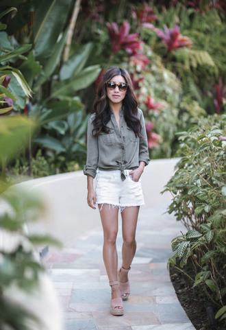 extra petite blogger shirt shorts shoes sunglasses white shorts espadrilles sandals
