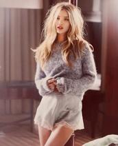 sweater,winter sweater,make-up,shorts,lace,victoria's secret,blue,silk,vs angel,rosie,rosie huntington-whiteley,my silk fairytale,love rosie
