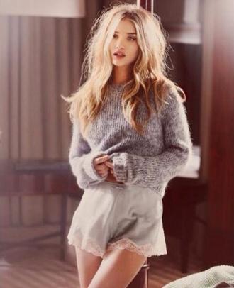 sweater winter sweater make-up shorts lace victoria's secret blue silk vs angel rosie rosie huntington-whiteley my silk fairytale love rosie