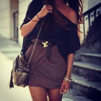 skirt shirt purse blouse louis vuitton chain oversized t-shirt