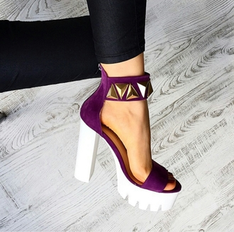 shoes heels thick heel chunky sole edgy style trendy dope wishlist girl streetstyle streetwear blogger studded purple party urban date outfit high heel sandals purple shoes