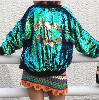 jacket sequins glitter chanel green turquoise multi colored old school gold sequin jacket