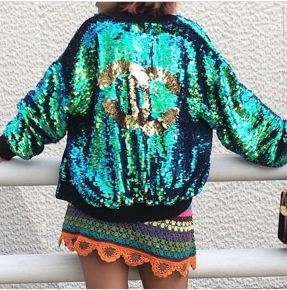 glitter sequins gold jacket chanel green turquoise multi colored old school