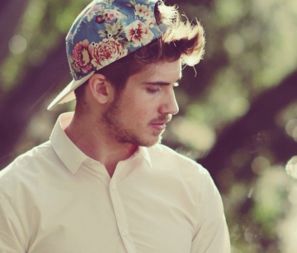 hat youtubers joey graceffa band t-shirt menswear floral cap white shirt floral cap