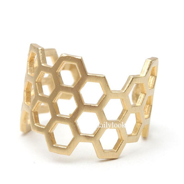 jewels jewelry honeycomb ring geometric ring hexagon ring honeycomb cool ring unique ring geometric jewelry ring stretch ring adjustable ring