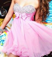 dress,pink,sparkling dress,prom dress,bow