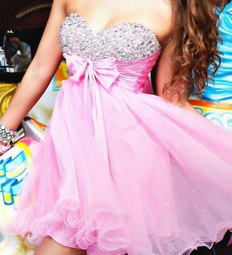 dress pink sparkling dress prom dress bow