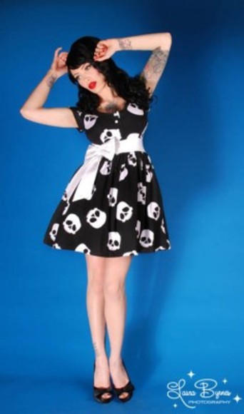 ribbon punk babydoll dress skull edgy pin up rockabilly