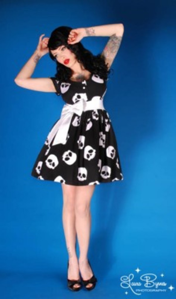 punk babydoll dress skull edgy ribbon Pin up rockabilly