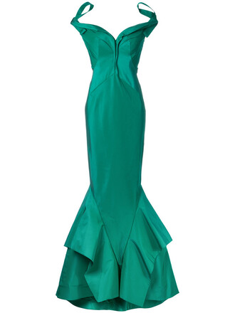 gown women silk green dress