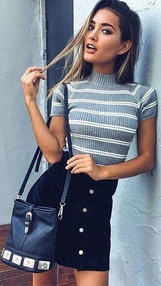 skirt black button up skirt striped t-shirt black bag