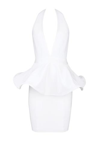 Heavenly white halter bandage peplum dress