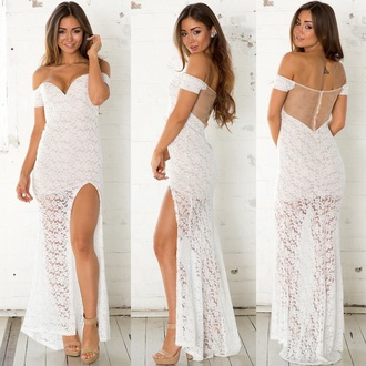off the shoulder split long white dress lace mesh sexy pretty fashion style