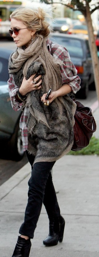 shirt mary kate olsen oversized shirt oversized scarf scarf