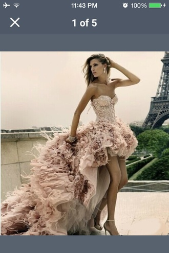 dress high low dress pink