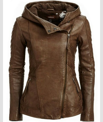 jacket brown leather jacket clothes girl coat leather hooded side zipper sidezip winter outfits spring fall outfits summer fashion biker hood fall jacket brown jacket brown jacket with hood hooded leather jackets hooded jacket autumn jacket learher brown winter coat brown leather jacket leather coat collar internet france