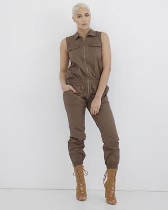 jumpsuit brown brown jumpsuit cargo jumpsuit