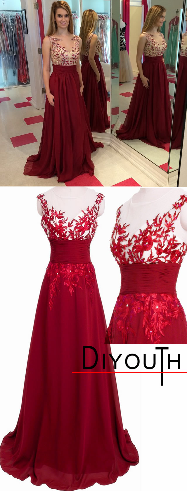 Length red chiffon illusion neck floral …
