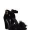 Flaunting feathers chunky velvety heels nude black - gojane.com