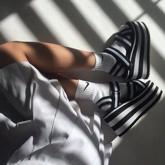 stripes shoes black and white