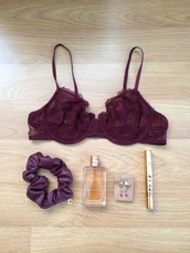 underwear,burgundy,gold,lace,lace up,chanel,perfume,oysho,free people,yves saint laurent,earrings,earings,mascara,gold ring,maroon/burgundy,jewels,bra