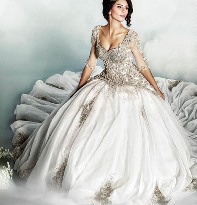 Discount luxury 2014 wedding dresses amazing applique beads ball online with $217.86/piece