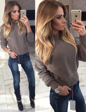 sweater,warm,warm sweater,fall outfits,winter outfits,girly outfits tumblr,beige,knitted sweater,cute sweaters,cozy sweater,cozy,knitwear,clothes,beige sweater,white sweater,fall sweater,trendy,fall trend,autumn/winter,jeans,skinny jeans,long sleeves,comfy