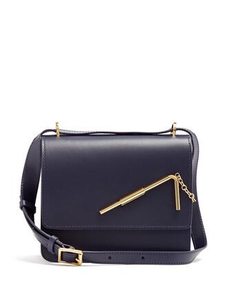cross bag leather dark navy
