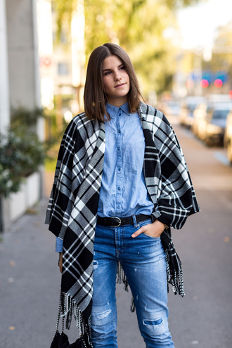 bag jeans blogger belt the fashion fraction tartan denim ripped jeans poncho