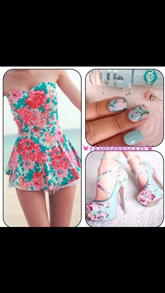 dress floral pattern blue dress pink dress pink blue flowers short dress strapless dress strapless beautiful