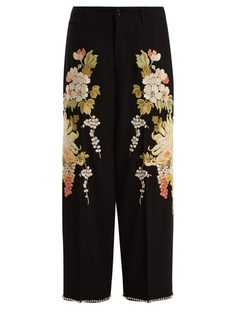embroidered floral wool black pants