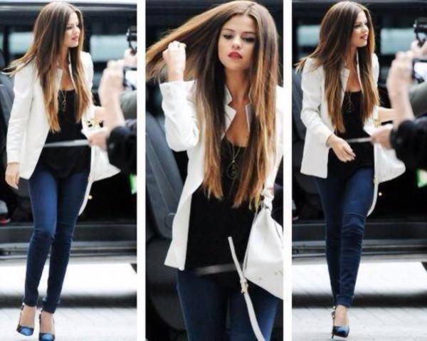 jacket pants shoes jewels t-shirt selena gomez black white white blazer blazer blue high waisted