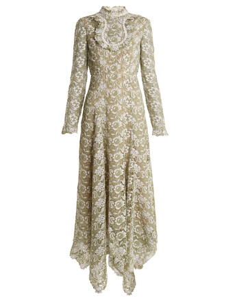 dress lace dress high lace floral green