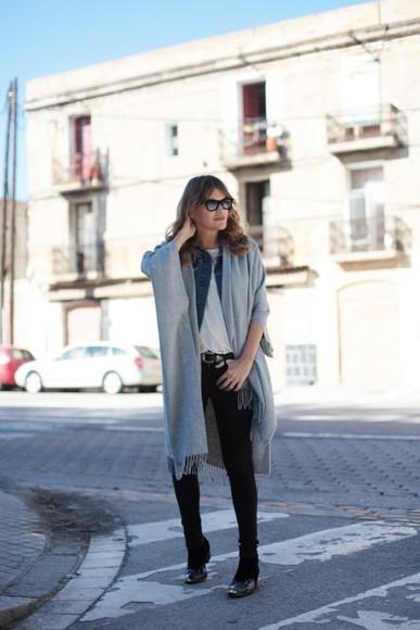 my daily style jacket blogger Belt jeans poncho