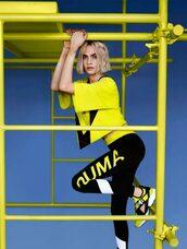 top,leggings,yellow,yellow top,neon,cara delevingne,model,sneakers,sportswear,sporty,shoes,editorial