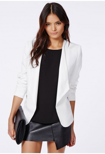 Cerrie zip detail waterfall blazer white