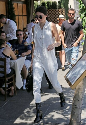 jumpsuit jeans pants kendall jenner boots top lace lace top kardashians sunglasses