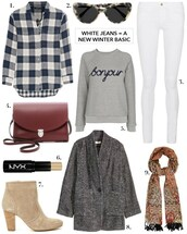 cocos tea party,blogger,grey sweater,white jeans,winter outfits,outfit idea,plaid shirt,printed scarf,silk scarf