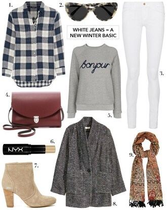 cocos tea party blogger grey sweater white jeans winter outfits outfit idea plaid shirt printed scarf silk scarf