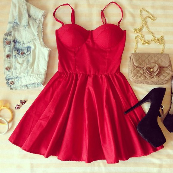 dress bustier dress bag skater dress bustier short dress red dress jewels shoes red sexy red dress red mini dress fit and flare dress beautiful red dress little red dress jacket