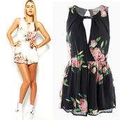 jumpsuit,dress,skirt,clothes,top,bottoms,fashion,new,girl,sexy,cute,new girl,cool,preppy,women,beautiful,beautuful,floral,flowered shorts,elegant