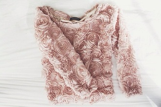 shirt rose coral 3d floral long sleeves floral rosepedalshirt pink dusty pink