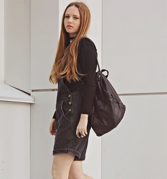 bag hipster black bag streetstyle stylemoi bag pack leather backpack