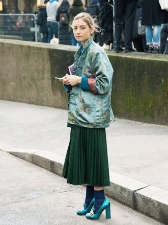 skirt satin jacket knitted skirt green skirt midi skirt pleated skirt pleated green jacket green jacket shoes green shoes high heels socks streetstyle fall outfits