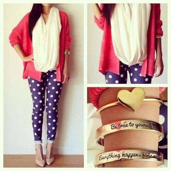 jewels pants shirt pants bracelets blouse blue polka dots